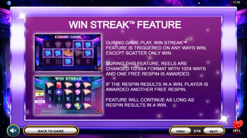 Cosmic Gems :: Win Streak Feature