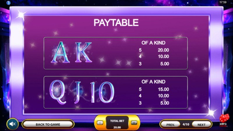Cosmic Gems :: Paytable - Low Value Symbols