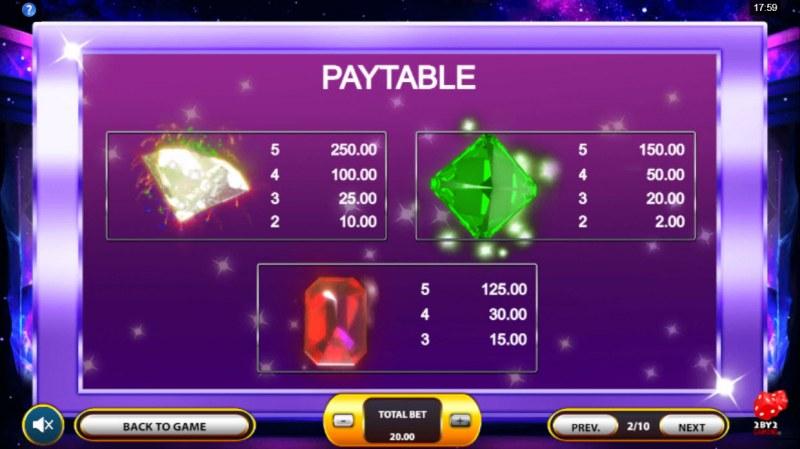 Cosmic Gems :: Paytable - High Value Symbols