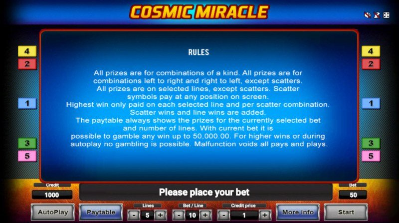 Cosmic Miracle :: General Game Rules