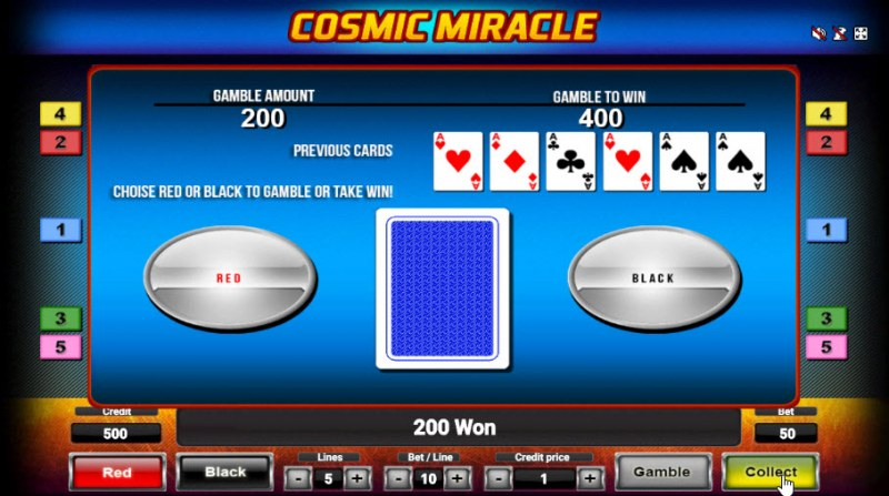 Cosmic Miracle :: Black or Red Gamble Feature