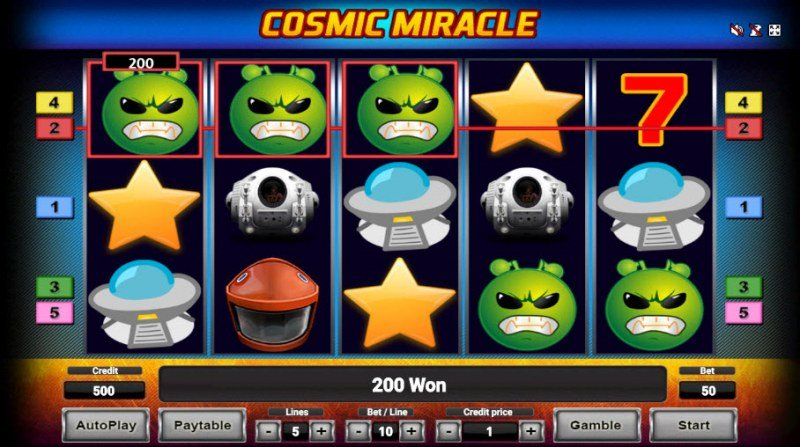 Cosmic Miracle :: Three of a kind win