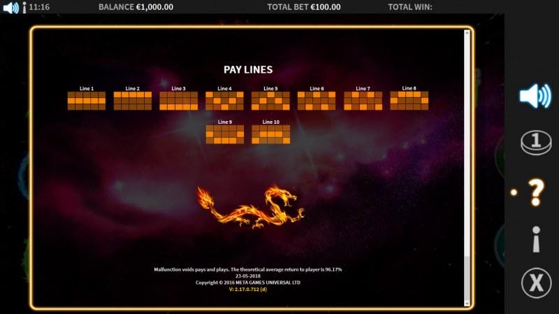 Cosmic Reels :: Paylines 1-10