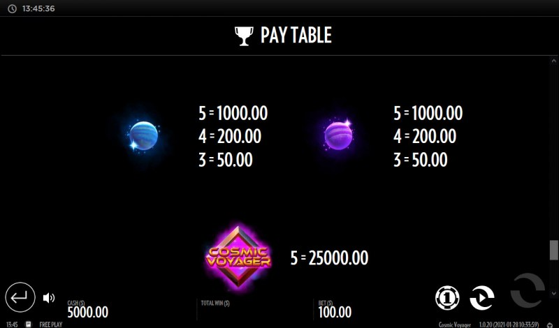 Cosmic Voyager :: Paytable - Low Value Symbols
