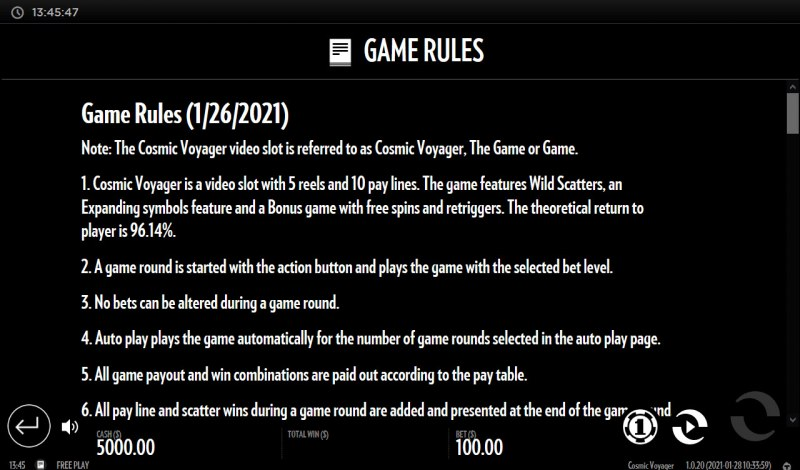 Cosmic Voyager :: General Game Rules