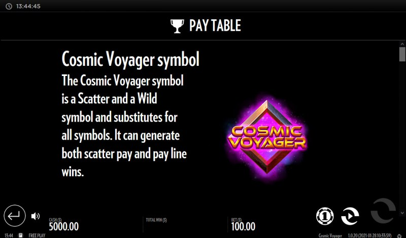 Cosmic Voyager :: Wild Symbol Rules