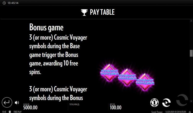 Cosmic Voyager :: Bonus Game