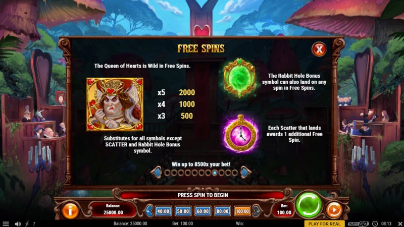 Court of Hearts :: Free Spin Feature Rules