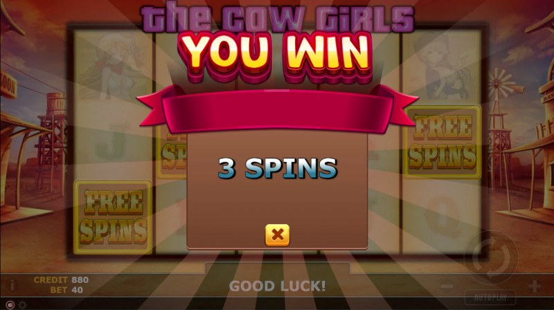 The Cow Girls :: 3 free spins awarded