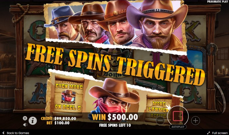 Cowboys Gold :: 10 free spins awarded