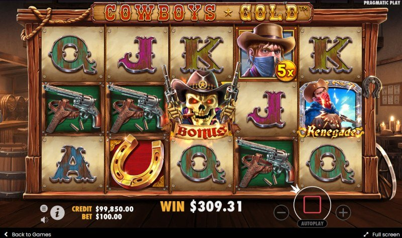 Cowboys Gold :: Scatter symbols triggers the free spins bonus feature