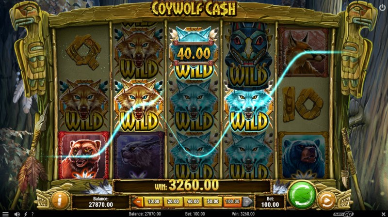 Coywolf Cash :: Multiple winning combinations leads to a big win