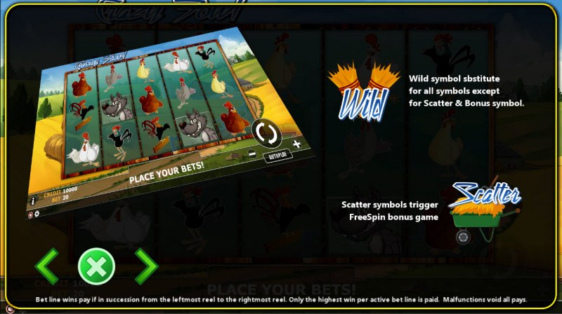 Crazy Fowl :: Wild and Scatter Rules
