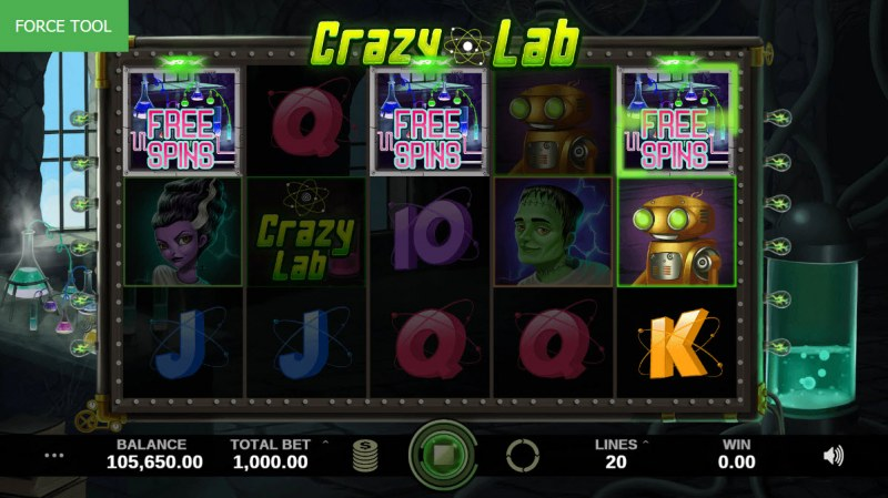 Crazy Lab :: Scatter symbols triggers the free spins feature