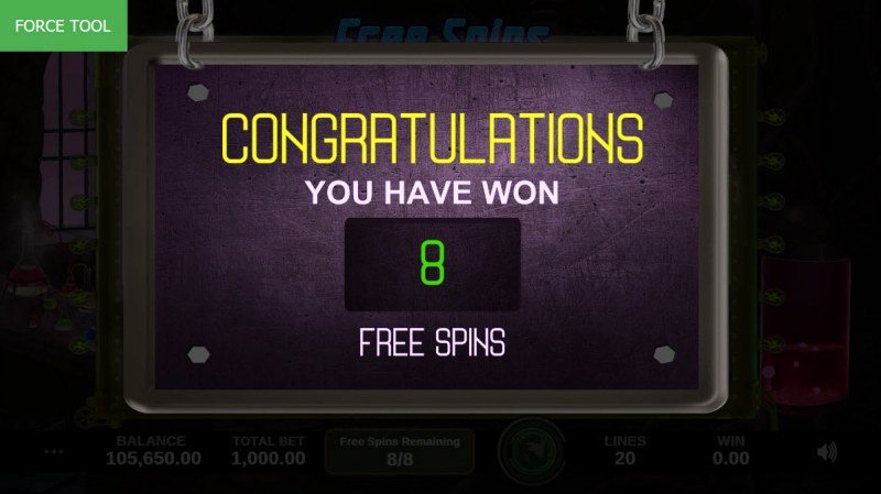 Crazy Lab :: 8 Free Spins Awarded