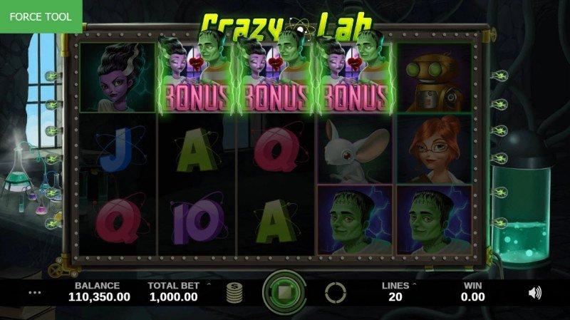Crazy Lab :: Scatter symbols triggers bonus feature