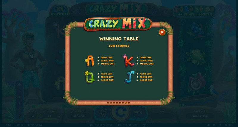 Crazy Mix :: Paytable - Low Value Symbols