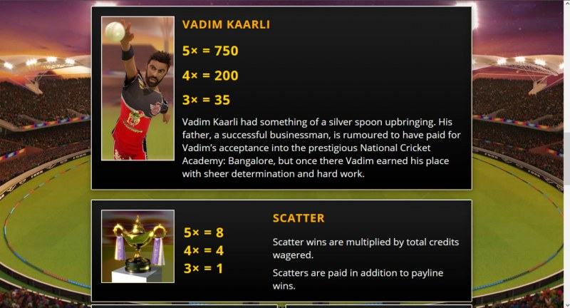 Cricket Fever :: Paytable - High Value Symbols