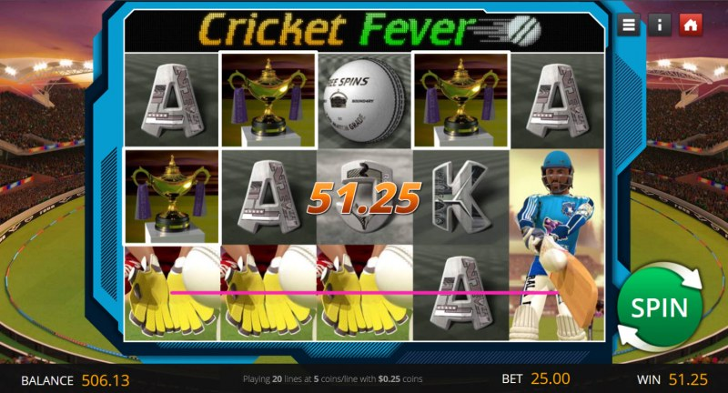Cricket Fever :: A three of a kind win