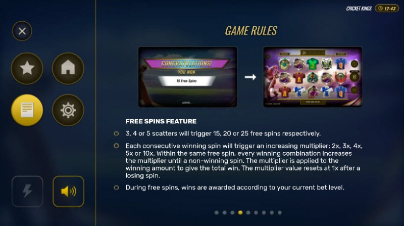 Cricket Kings :: Free Spins Rules