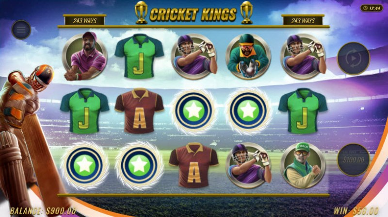 Cricket Kings :: Winning symbols are removed from the reels and new symbols drop in place