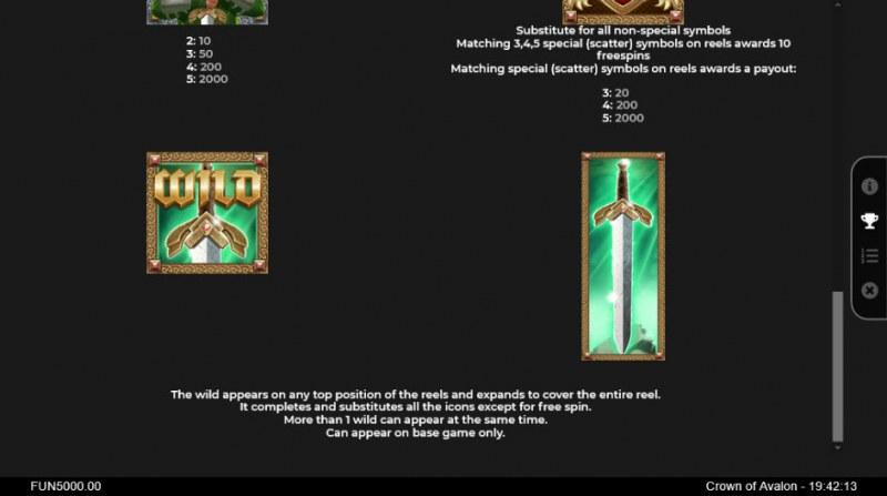 Crown of Avalon :: Wild Symbols Rules