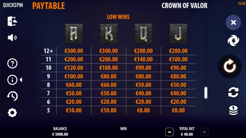 Crown of Valor :: Paytable - Low Value Symbols