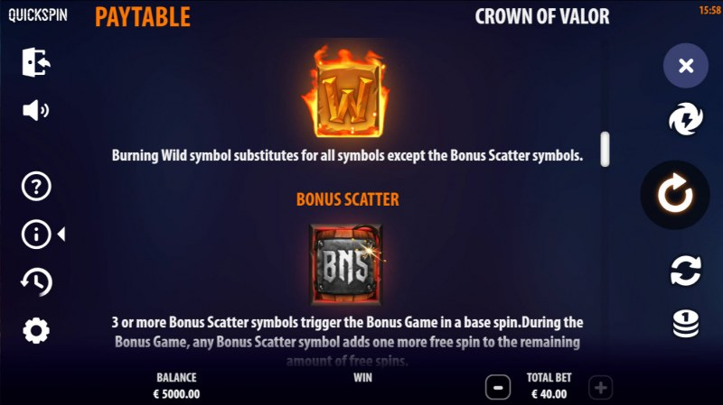 Crown of Valor :: Wild and Scatter Rules
