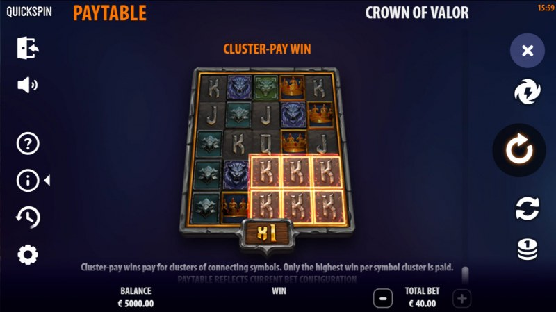 Crown of Valor :: Cluster Pays