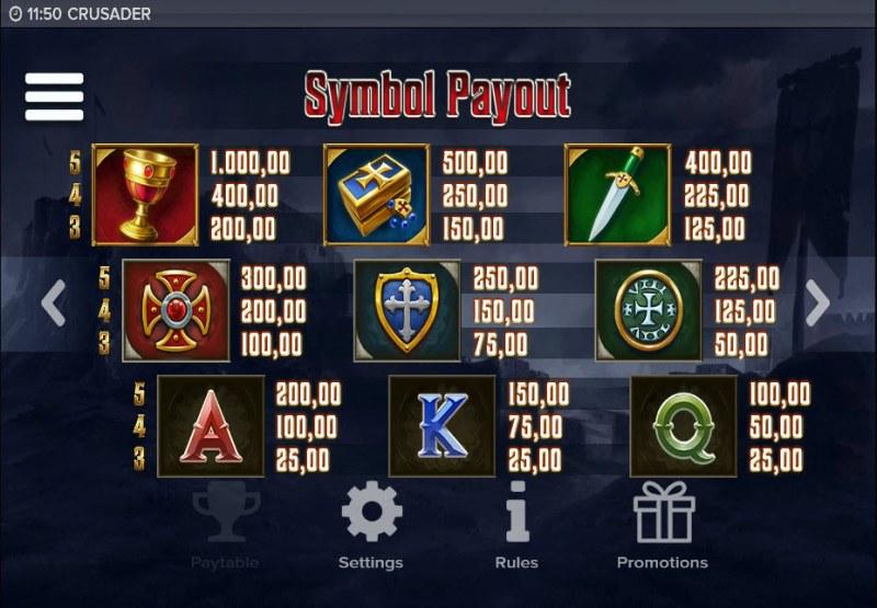 Crusader :: Paytable