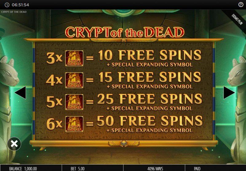 Crypt of the Dead :: Free Spin Feature Rules