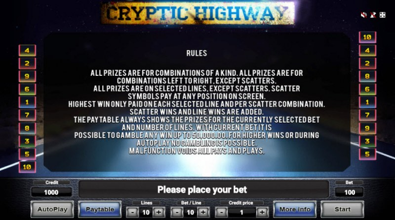 Cryptic Highway :: General Game Rules