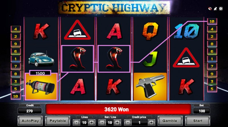 Cryptic Highway :: Free Spins Game Board