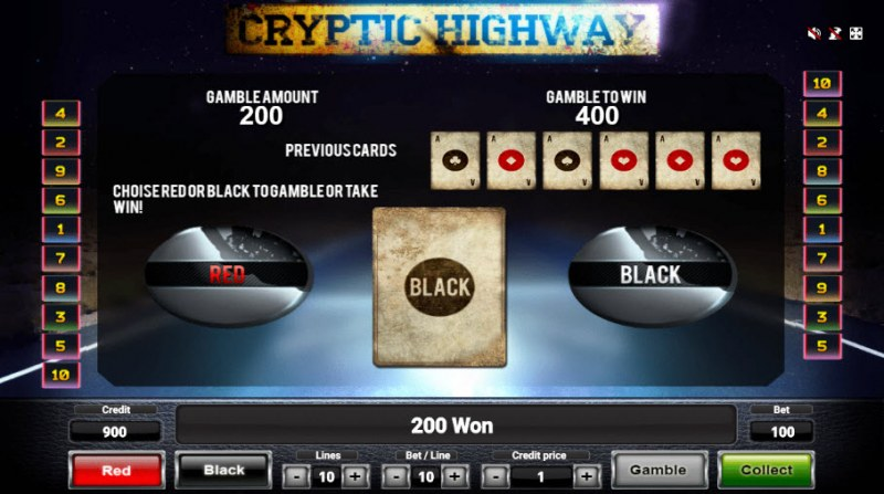 Cryptic Highway :: Black or Red Gamble Feature