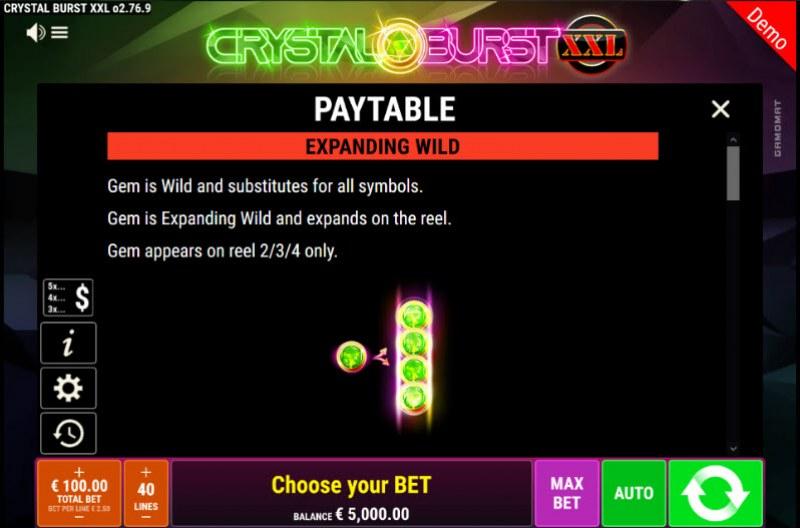 Crystal Burst XXL :: Wild Symbols Rules