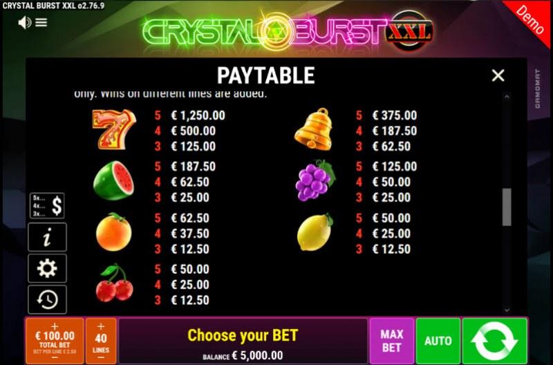 Crystal Burst XXL :: Paytable