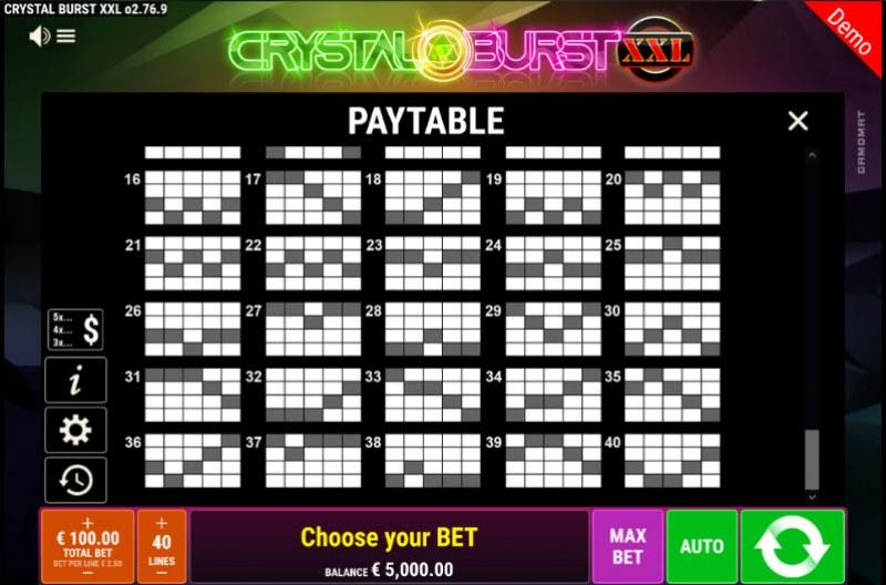 Crystal Burst XXL :: Paylines 26-40