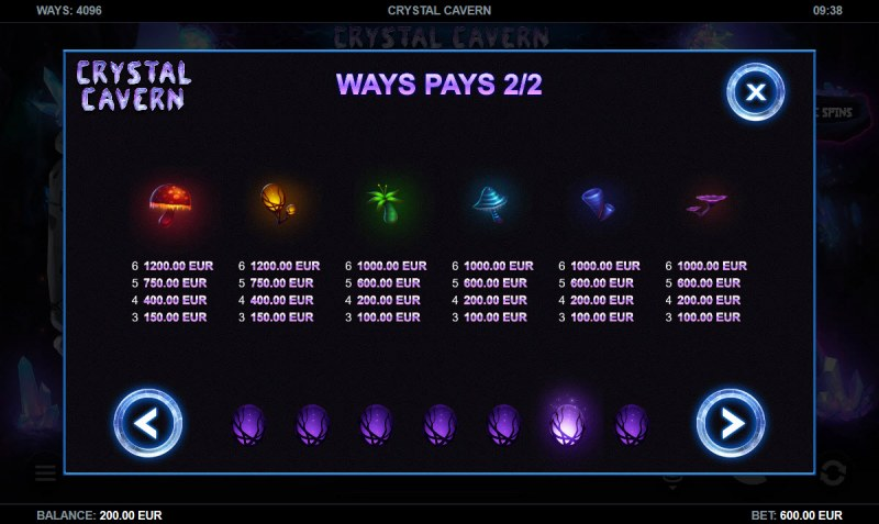 Crystal Cavern :: Paytable - Low Value Symbols