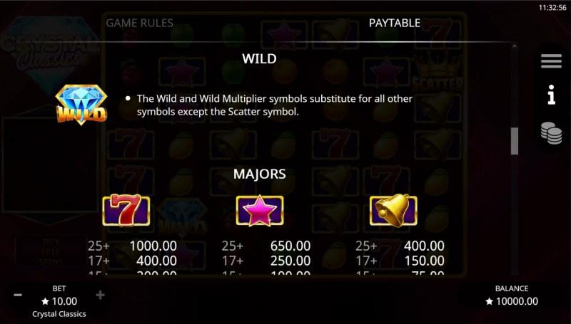 Crystal Classics :: Wild Symbol Rules