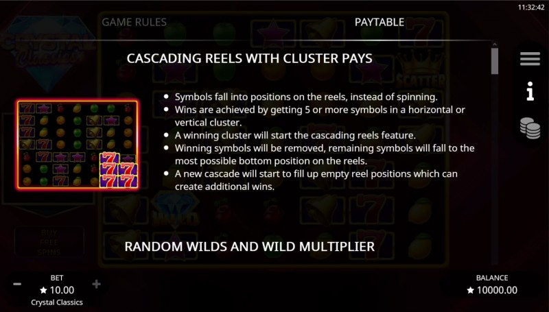 Crystal Classics :: Cascading Reels with Cluster Pays