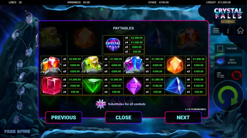 Crystal Falls :: Paytable