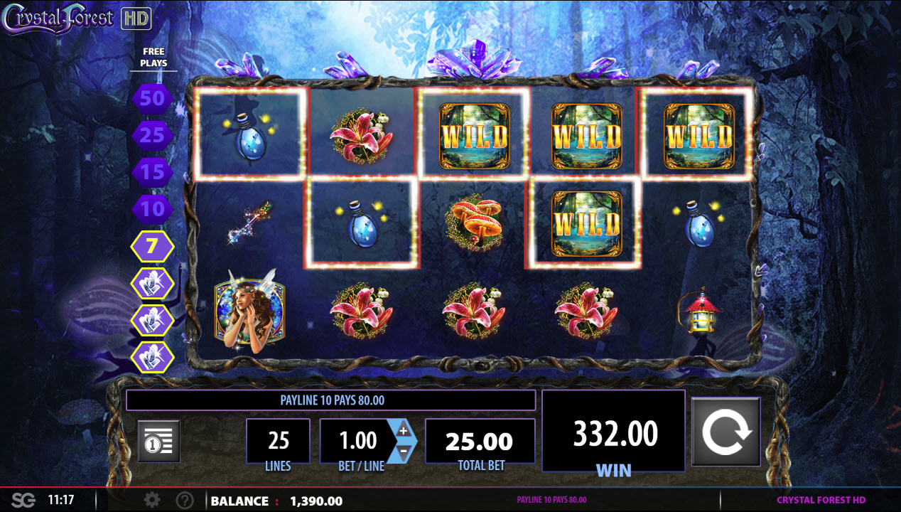 Crystal Forest :: Four or more consecutive cascade wins triggers the free spins feature