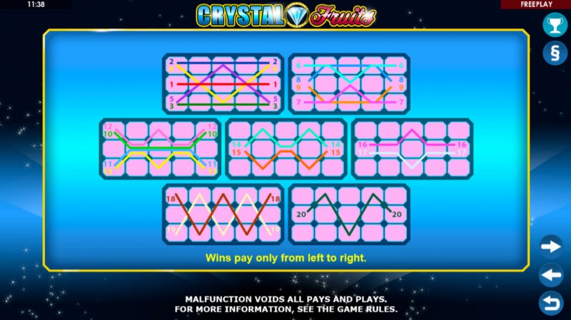 Crystal Fruits :: Paylines 1-20