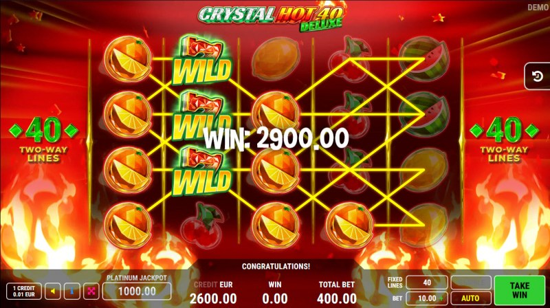 Crystal Hot 40 Deluxe :: Multiple winning combinations lead to a big win