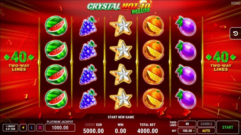 Crystal Hot 40 Deluxe :: Base Game Screen