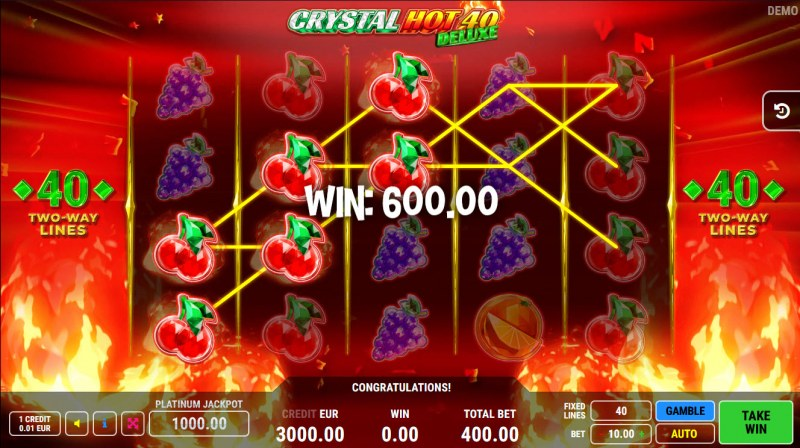 Crystal Hot 40 Deluxe :: Multiple winning paylines