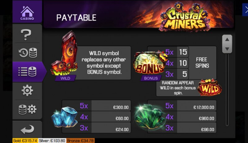 Crystal Miners :: Paytable - High Value Symbols