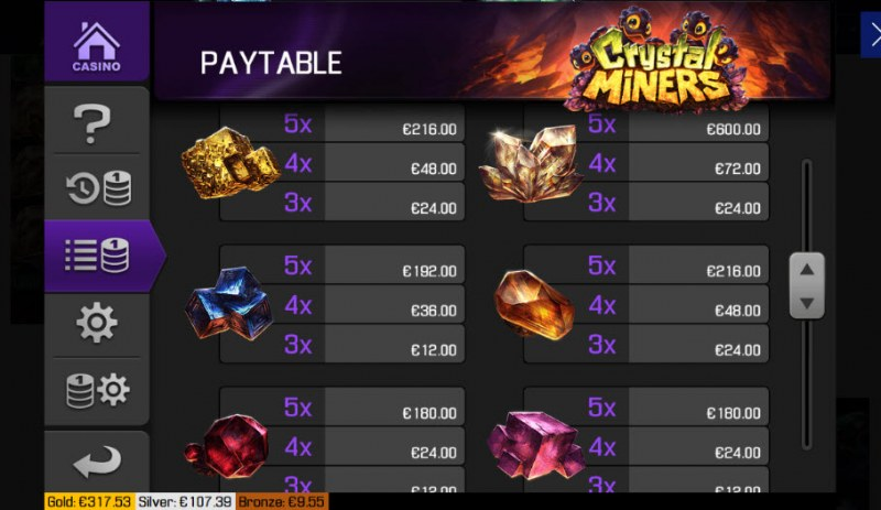 Crystal Miners :: Paytable - Low Value Symbols