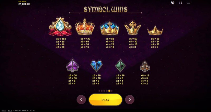 Crystal Mirror :: Paytable