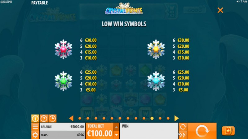 Crystal Prince :: Paytable - Low Value Symbols